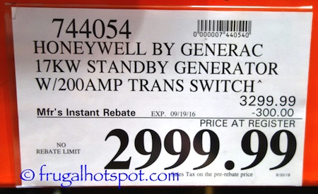 Honeywell by Generac 17KW Standby Generator Costco Price | Frugal Hotspot