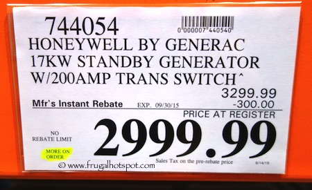 Honeywell by Generac 17KW Standby Generator Costco Price