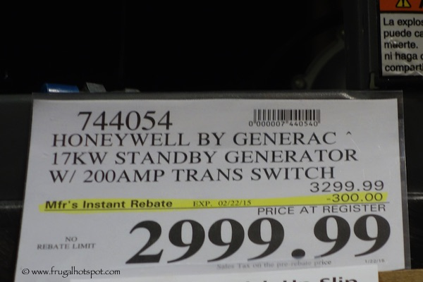 Honeywell by Generac 17 KW Standby Generator Costco PRice