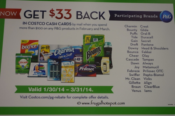 P&G $33 Costco Cash Card Rebate