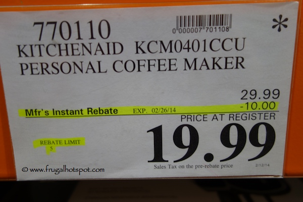 KitchenAid Personal Coffee Maker Costco Price