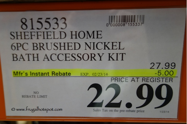 Sheffield Home 6 Piece Brushed Nickel Bath Set Costco Price