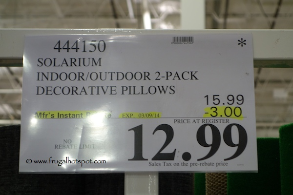 Solarium Indoor Outdoor Pillow 2 Pack Costco Price