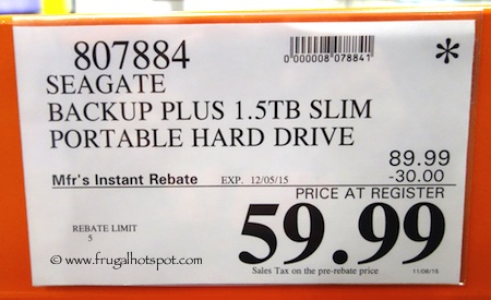 Seagate Slim Backup Plus 1.5TB Portable Hard Drive Costco Price