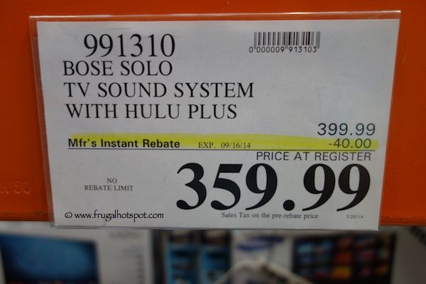 Bose Solo TV Sound System with Hulu Plus Costco price