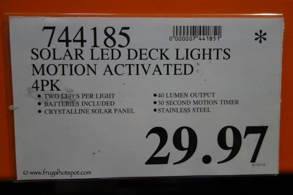 Solar LED Deck Lights Motion Activated 4 pack Costco Price