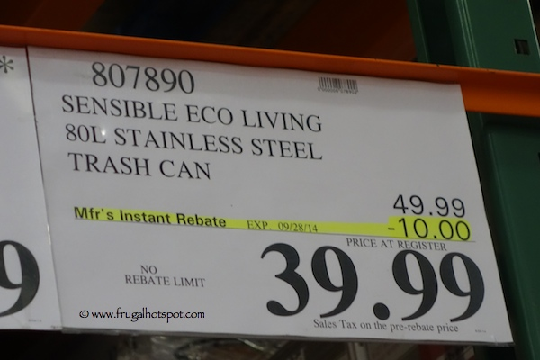 Sensible Eco Living Stainless Steel Trash Can Costco Price