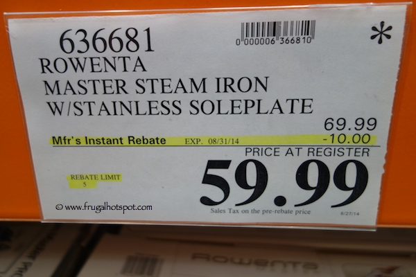 Rowenta Master Steam Iron with Stainless Steel Soleplate Costco Price