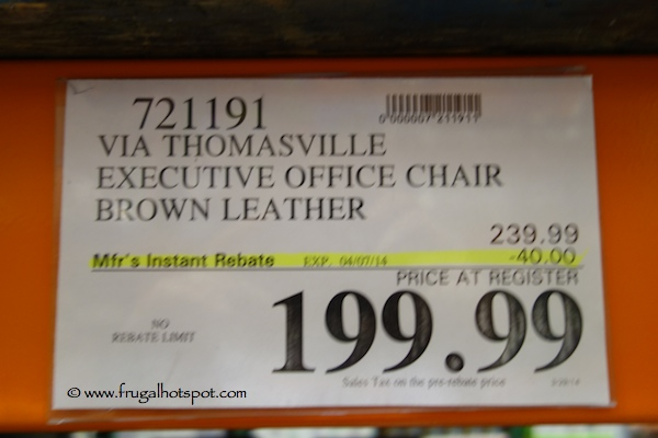 Via Thomasville Brown Leather Executive Chair Costco Price
