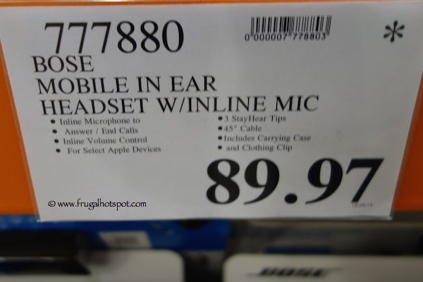 Bose Mobile in Ear Headset With Inline Mic Costco Price