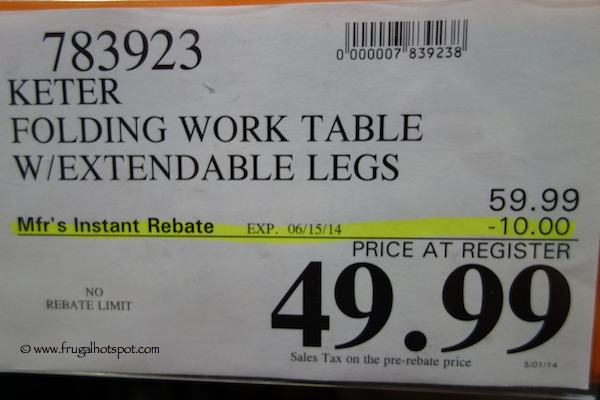 keter work table with extendable legs costco price - Costco Folding Table