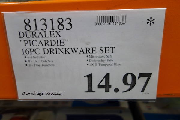 Duralex Picardie 16 Piece Tumbler Glass Set Costco Price