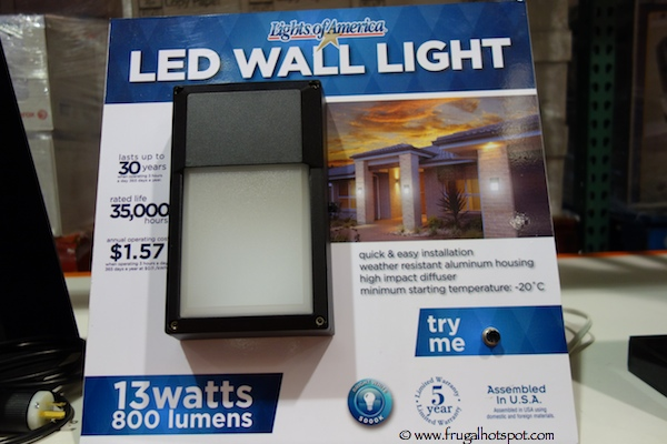 Lights of America LED Outdoor Wall Light Costco