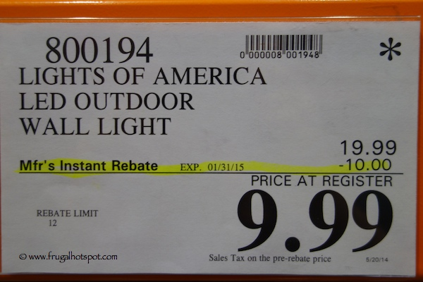 Lights of America LED Outdoor Wall Light Costco Price