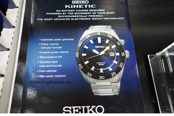 Seiko Kinetic Mens Blue Dial Stainless Steel Watch Costco
