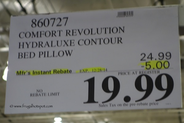 Comfort Revolution Hydraluxe Contour  Bed Pillow Costco Price