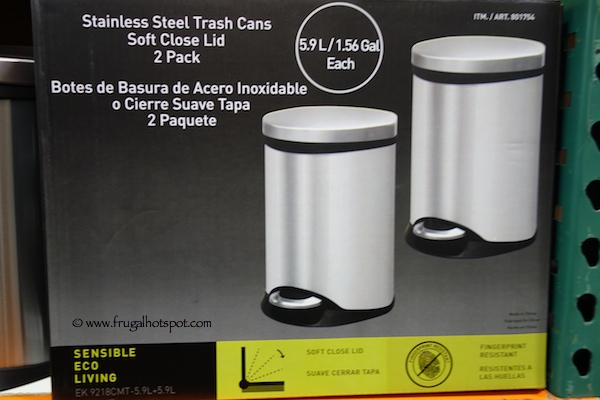 Sensible Eco Living Stainless Steel Trash Can 2-Pack Costco