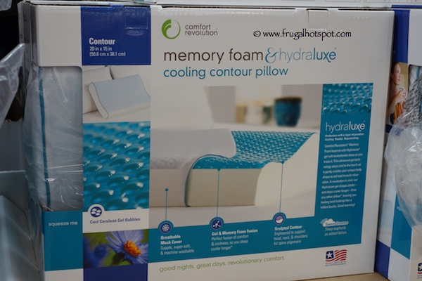 Comfort Revolution Memory Foam & Hydraluxe Cooling Contour Pillow Costco