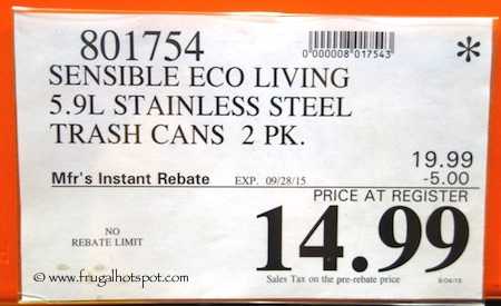 Sensible Eco Living Stainless Steel Trash Cans 2-Pack Costco Price