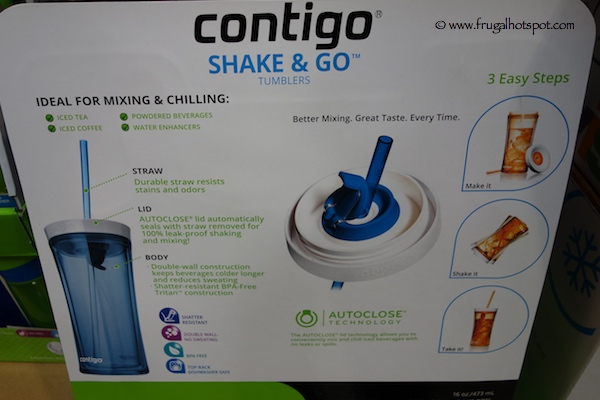 Contigo Shake & Go 3-Pack Tumbler with Straws Costco
