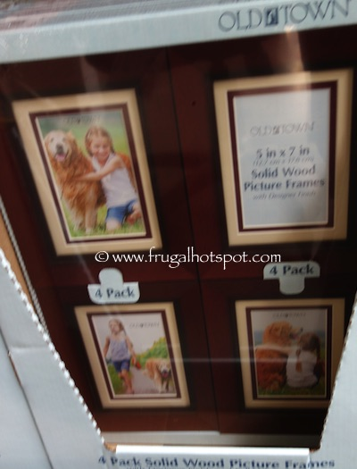 "Old Town 5"" x 7"" Solid Wood Picture Frames 4-Pack Brown Costco 
