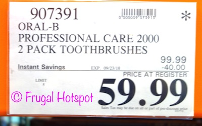Costco Sale Price: Oral-B Pro Care 2000 Dual Handle Rechargeable Toothbrushes
