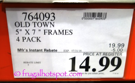 "Old Town 5"" x 7"" Solid Wood Picture Frames 4-Pack Costco Price 