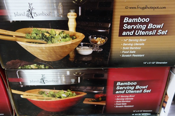 "14"" Bamboo Serving Bowl & Utensil Set by Island Bamboo Costco"