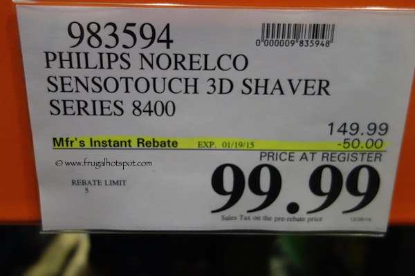 Philips Norelco SensoTouch 3D Shaver Series 8400 Costco Price