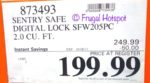Costco Sale Price: SentrySafe 2.0 Cu Ft Digital Safe