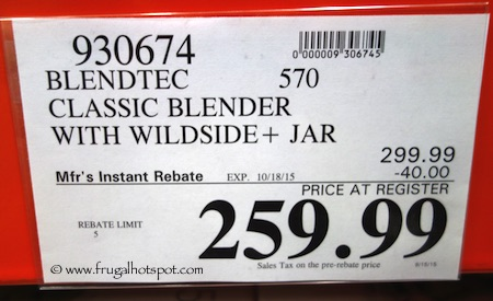 Blendtec Classic 570 Blender with Wildside+ Jar Costco Price