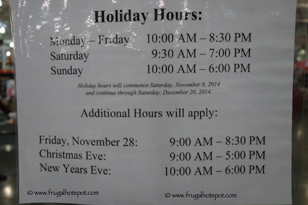 Costco Holiday Shopping Hours 2014