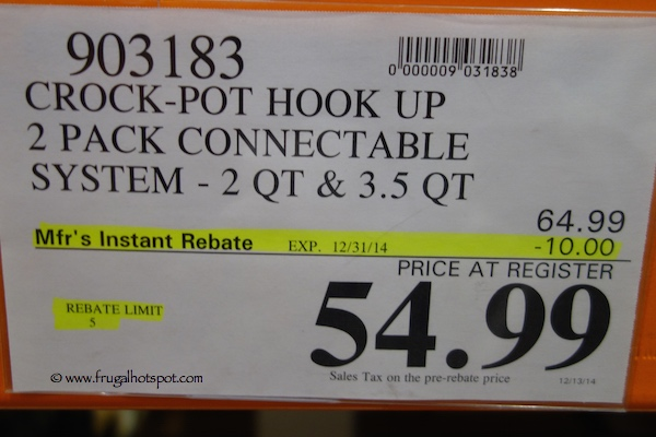 Crock-Pot Hook-Up 2-Pack Connectable System Costco Price