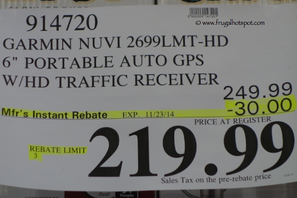 "Garmin Nuvi 2699 LMT-HD 6"" Portable Auto GPS with HD Traffic Receiver Costco Price"