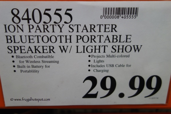Ion Party Starter Bluetooth Wireless Speaker with Party Lights Costco Price