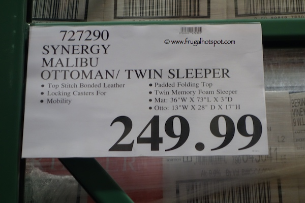 Costco Synergy Malibu Twin Sleeper Ottoman Frugal Hotspot