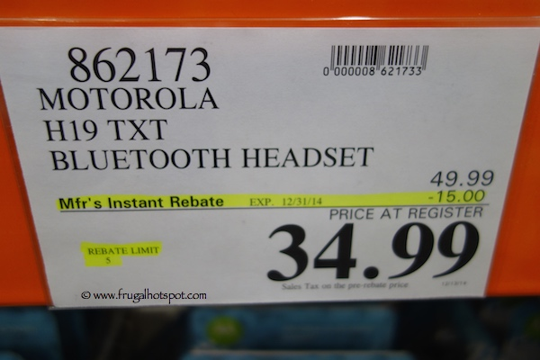 Motorola H19TXT BLuetooth Headset Costco Price
