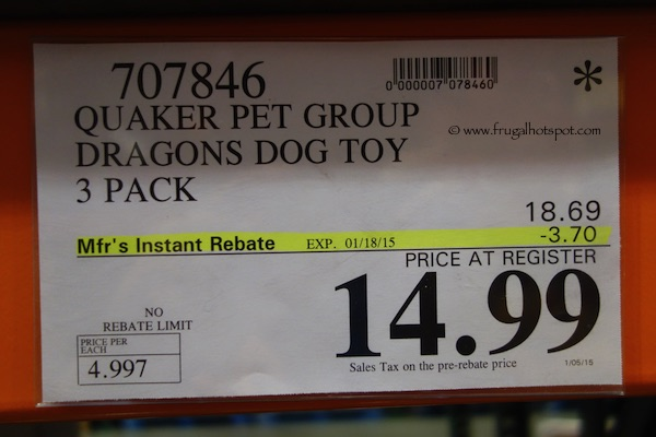 Quaker Pet Group Dragons Dog Toy 3-Pack Costco Price