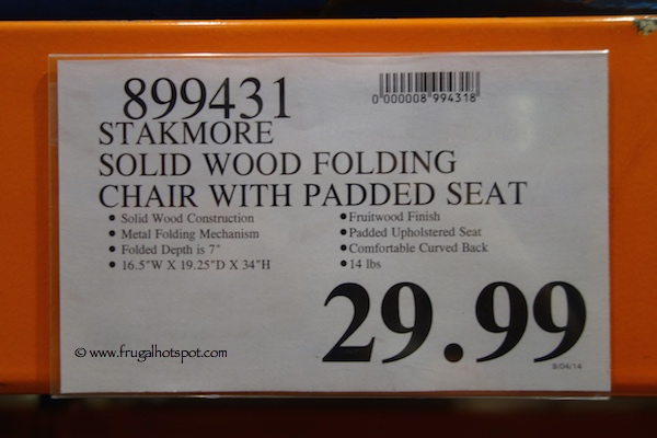 Stakmore Solid Wood Folding Chair With Padded Seat Costco