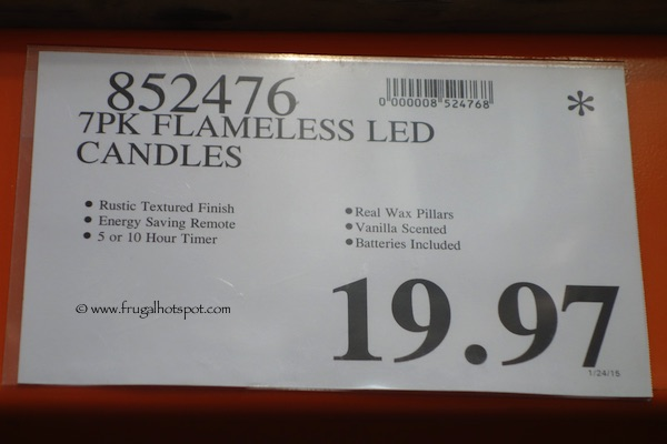 7 Flameless LED Vanilla Scented Candles Costco Price