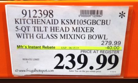 Costco Sale Price: KitchenAid 5-Quart Tilt Head Stand Mixer With Glass Mixing Bowl