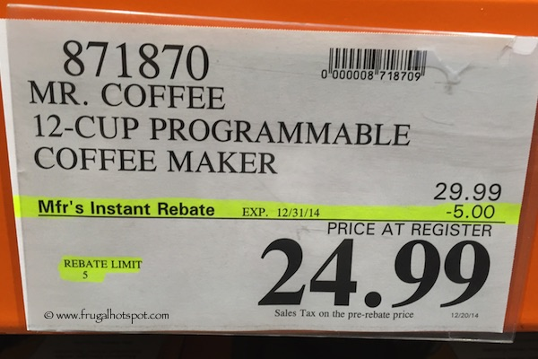 Mr. Coffee 12-Cup Programmable Coffee Maker Costco Price
