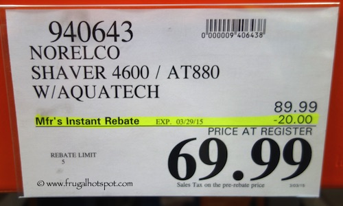 Norelco Shaver 4600 AT880 with Aquatech Costco Price