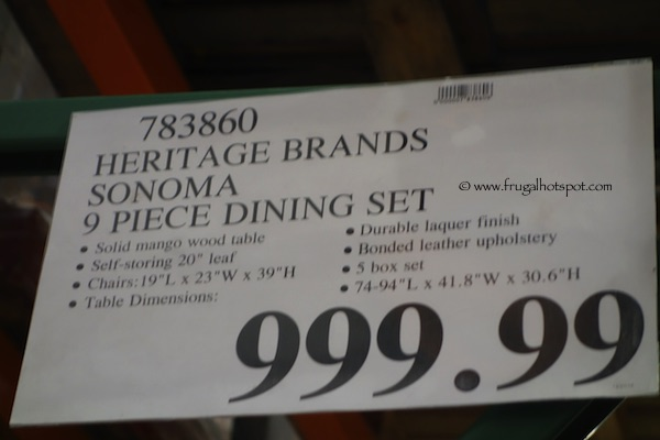 intercon heritage brands sonoma 9 piece dining set costco price