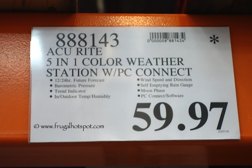 Acu Rite 5 in 1 Color Weather Station with PC Connection Costco Price