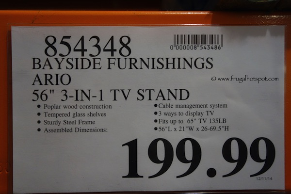 Bayside Furnishings Ario 3 In 1 TV Stand Costco Price
