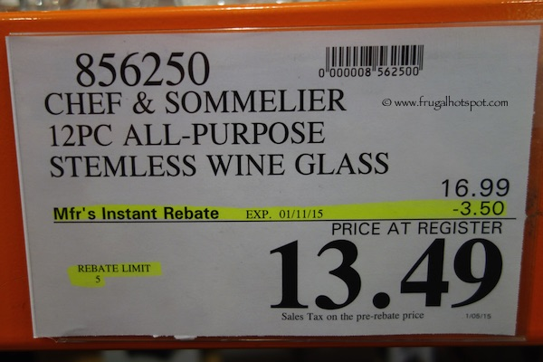 Chef & Sommelier All-Purpose Stemless Wine Glass 12 Piece Costco Price