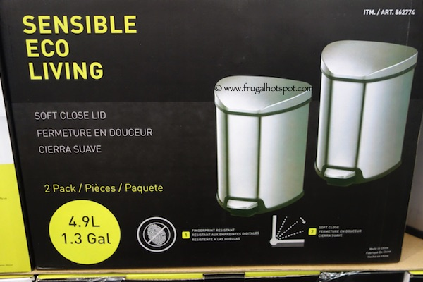 Sensible Eco Living Stainless Steel 1.3 Gallon / 4.9 L Trash Can 2-Pack Costco