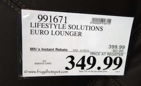 Lifestyle Solutions Vienna Euro Lounger Costco Price