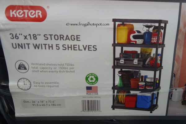 "Keter 36"" x 18"" Storage Unit with 5 Shelves Costco"